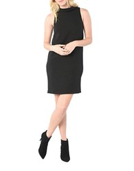 Kensie Sleeveless Textured Dot Mockneck Shift Dress Black