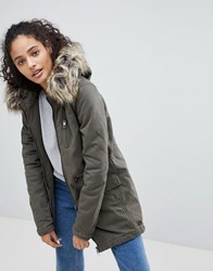 Only Macy Parka Coat With Faux Fur Hood Black