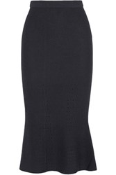 Iris And Ink Pointelle Knit Midi Skirt Navy