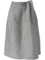 Jil Sander Navy Front Pleated Striped Skirt Blue