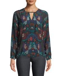 Tolani Caitlyn Long Sleeve Multicolor Embroidered Blouse Plus Size