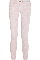 Current Elliott The Stiletto Leopard Print Cropped Low Rise Skinny Jeans Baby Pink