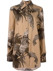 Off White Feather Print Long Shirt Nude And Neutrals