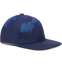 Blue Blue Japan Indigo Dyed Floral Print Cotton Canvas Baseball Cap Navy