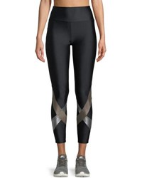 Lanston Yuri High Waist Metallic Cross Cropped Leggings Black Pattern