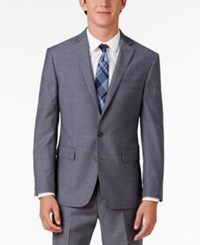Ryan Seacrest Distinction Men's Slim Fit Gray Blue Double Stripe Suit Jacket Only At Macy's Grey