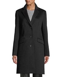 Cinzia Rocca Three Button Notched Collar Wool Coat Black