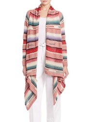 Polo Ralph Lauren Open Front Long Cardigan Pink Serape