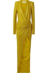Alexandre Vauthier Draped Crystal Embellished Stretch Georgette Gown Gold