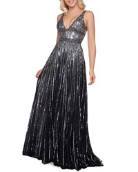 Mac Duggal Horizontal Sequined V Neck A Line Gown Black Silver