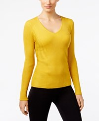 Inc International Concepts Ribbed V Neck Sweater Only At Macy's Polished Gold