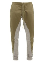 Greg Lauren Jersey And Satin Panelled Track Pants Green