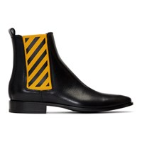 Off White Black And Yellow Chelsea Boots