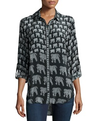 Tolani Evelyn Elephant Print Silk Tunic
