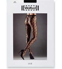 Wolford Lilie Floral Lace Tights Black