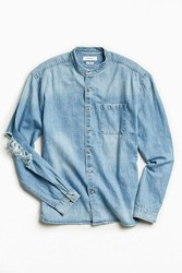 Urban Outfitters Uo Damaged Denim Button Down Shirt Indigo