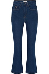 Attico Cropped High Rise Flared Jeans Mid Denim