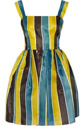 Dolce And Gabbana Striped Silk Gazar Mini Dress Yellow