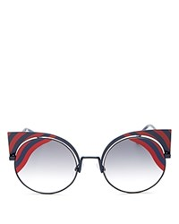 Fendi Round Cat Eye Sunglasses 53Mm Red Black Gray Gradient