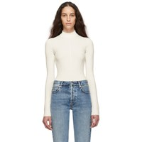 Helmut Lang Off White Viscose Bodysuit