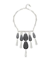 Robert Lee Morris Enfold Black Diamond Bib Necklace Silver