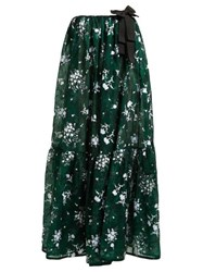 Erdem Theona Tiered Floral Chantilly Lace Gown Green Multi
