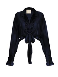 By. Bonnie Young Ruffle Trimmed Cotton Poplin Blouse Navy
