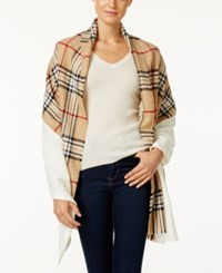 Charter Club Mixed Media Knit Blanket Scarf Only At Macy's Heather Camel