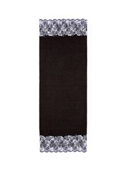 Janavi Floral Embroidered Ombre Lace Trim Cashmere Scarf Black