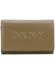 Dkny Logo Debossed Wallet Women Leather One Size Green
