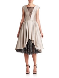Abs By Allen Schwartz Satin And Lace Cocktail Dress Oyster