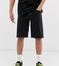 Reclaimed Vintage Inspired Denim Shorts With Raw Hem In Black