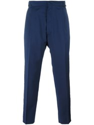 Vivienne Westwood Man Striped Lateral Cropped Trousers Blue