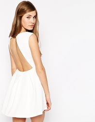 True Decadence Skater Dress With Open Back Cream3d