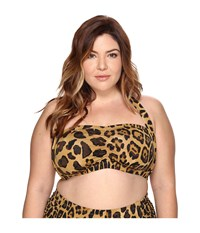 Lauren Ralph Lauren Plus Size Leopard Retro Halter Brown Women's Swimwear