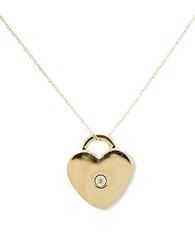 Lord And Taylor 14 Kt Two Toned Heart Necklace With Diamond Accent 14K Two Tone Gold