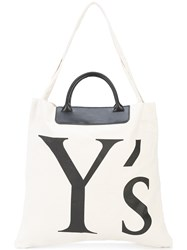 Y's Logo Shopper Tote Nude And Neutrals