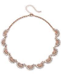 Jewel Badgley Mischka Rose Gold Tone Crystal And Imitation Pearl Collar Necklace 16 3 Extender