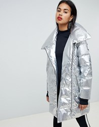 Armani Exchange Metallic Longline Padded Jacket 1983 Silver