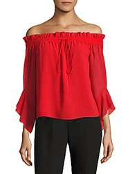 Saks Fifth Avenue Bell Sleeve Off The Shoulder Blouse Red