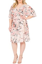 Standards And Practices Plus Size Women's Candice Georgette Wrap Dress Floral Peach