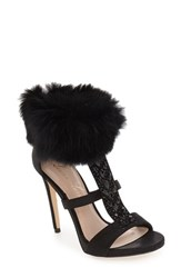 Lauren Lorraine Women's 'Angela' Genuine Rabbit Fur Cuff Sandal