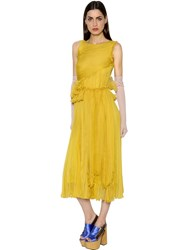 Rochas Gathered Silk Chiffon Dress W Ruffles