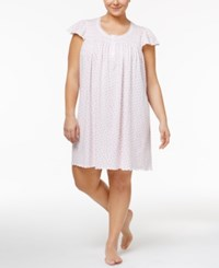 Miss Elaine Plus Size Smocked Floral Print Nightgown Pink Roses