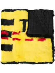 Off White Contrast Design Scarf Yellow
