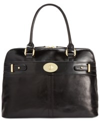 Giani Bernini Glazed Turnlock Dome Satchel Only At Macy's Black