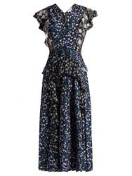 Rebecca Taylor Patchwork Floral Print Silk Dress Navy Print
