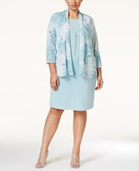 Jessica Howard Plus Size Layered Look Sheath Dress And Printed Jacket