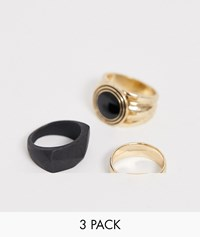 Bershka Ring 3 Pack In Gold And Black