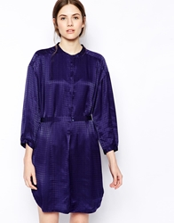 See By Chloe Graphic Print Long Sleeve Belted Shirt Dress Blue